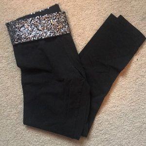 Black Sequin Yoga Pants